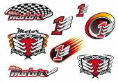 Racing and motocross emblems or symbols — Stock Vector