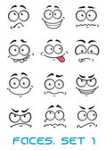 Cartoon faces with different emotions — Stock Vector