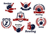Bowling sports emblems and symbols — Stock Vector