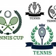 Tennis tournament emblems with rackets and balls — Stock Vector #62641007