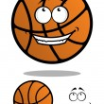 Cartoon funny orange basketball ball — Stock Vector #62641037