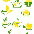 Green tea icons with outlined cups and teapot — Stock Vector #62641063