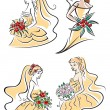 Happy outline brides with lush bouquets — Stock Vector #62641189