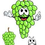 Juicy green grape fruit in cartoon style — Stock Vector #62641195