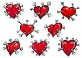 Red hearts pierced by nails — Stock Vector