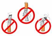 No smoking cartoon signs — Stock Vector