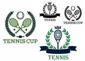 Tennis tournament emblems with rackets and balls — Stock Vector
