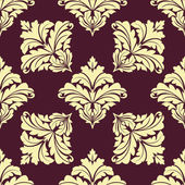 Seamless pattern in damask style with beige flourishes — Stock Vector