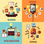 Flat designs for web education, school, science and teacher — Stock Vector