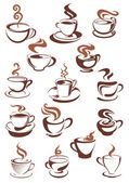 Brown cups of coffee, cappuccino, espresso, latte or chocolate  — Stock Vector