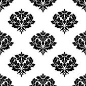 Seamless baroque style black floral pattern — Stock Vector