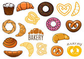Outlined and cartooned buns, cakes, croissants, donuts, pretzels — Stock Vector
