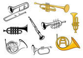 Wind instruments in sketch and cartoon style — Stock Vector