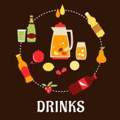Beverages and drinks flat composition — Stock Vector
