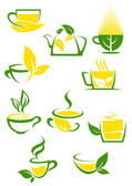 Green tea icons with outlined cups and teapot — Stock Vector
