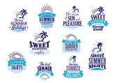 Summer holidays and vacation emblems in blue colors — Stock Vector