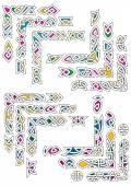 Celtic ornamental corners with colorful segments — Stock Vector