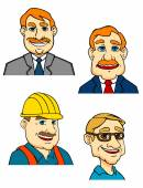 Cartoon male businessman, manager, builder and doctor characters — Stock Vector