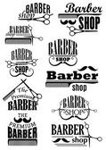 Black vintage barber shop logo and emblems — Stock Vector