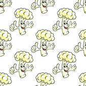 Seamless cartooned cauliflower vegetable background — Stock Vector