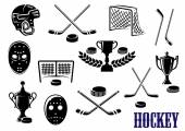 Ice hockey icons with caption Hockey — Stock Vector