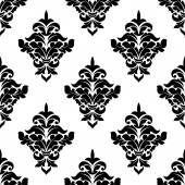 Black and white victorian floral seamless pattern — Stock Vector