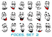 Cartoon human faces with happy emotions — Stock Vector