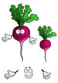 Happy smiling radish vegetable in cartoon style — Stock Vector