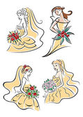 Happy outline brides with lush bouquets — Stock Vector