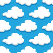 Seamless cartoon cloudscape pattern on blue background — Stock Vector