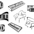 Outline sketch piano music icons — Stock Vector #63239469