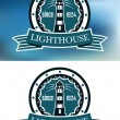 Lighthouse logo or emblem in retro style — Stock Vector #63239513