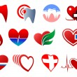 Dentistry, cardiology and blood donation symbols — Stock Vector #63239541