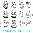 Cartoon doodle faces with different emotions — Stock Vector #63239595