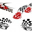 Racing cars with checkered winding roads — Stock Vector #63239631