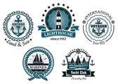 Vintage mořské emblémy nebo popisky v modré a bílé — Stock vektor