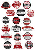 Red and black quality guarantee labels or banners — Stock Vector