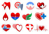 Dentistry, cardiology and blood donation symbols — Wektor stockowy