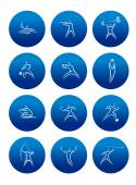 Sporting round icons with silhouettes of athletes — Stock Vector