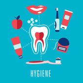 Flat dental hygiene icons on blue background — Stock Vector