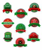 Quality guarantee labels in flat style — Stock Vector