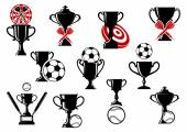 Darts, football and baseball sport trophy design elements — Stockvektor