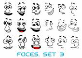 Cartoon doodle faces with different emotions — Stock Vector