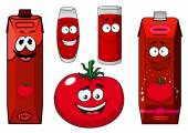 Cartoon tomato vegetable, juice packs and glasses  — Stock Vector