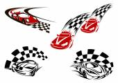 Racing cars with checkered winding roads — Stockvector