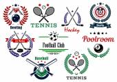 Team and individual sport emblems — Stock Vector