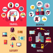 Travel and hotel services flat concept — Stock Vector