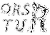 Floral capital letters Q, R, S, T and U — Vector de stock