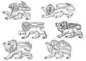 Vintage heraldic lions set — Stock Vector