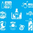 Dairy and milk icons on turquoise blue — Stock Vector #63803593